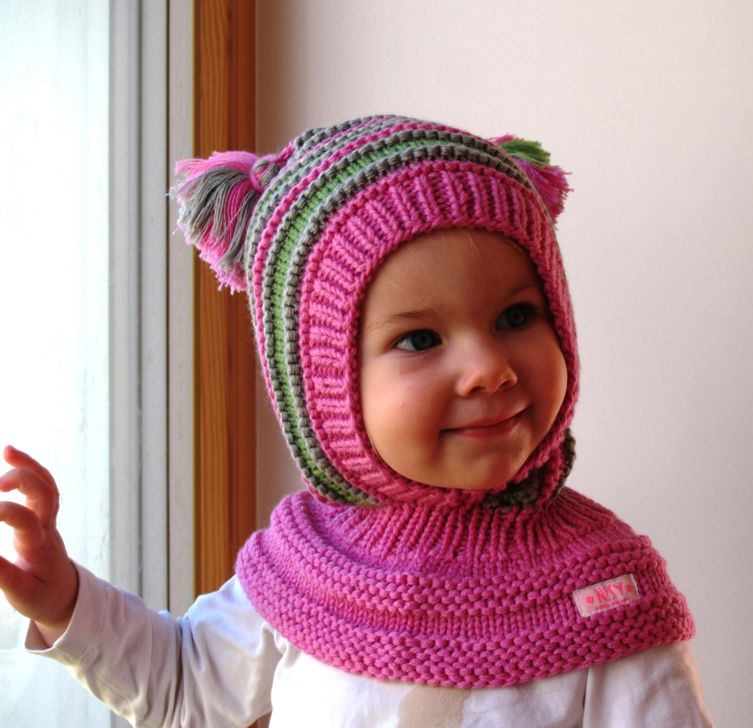 Favorite Merino Balaclava Pink Baby/ Toddler/ Children Hoodie hat with XG75