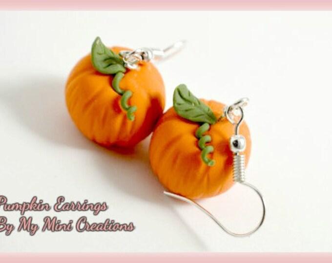 Pumpkin Earrings, Polymer Clay,  Miniature Food, Miniature Food Jewelry, Halloween, Fall