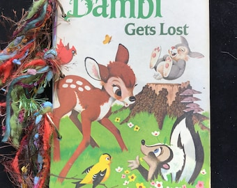 Junk Journal, Art Journal, Scrapbook, Smash Book made with vintage children's Bambi book cover
