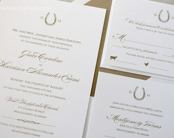Horseshoe Wedding Invitations, Equestrian Wedding Invitations, Monogram Wedding Invitations, Preppy Horseshoe Invites, Horse Race Invitation