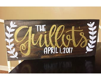 Personalized custom name wood sign laurel
