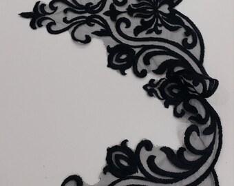 Black lace Trim, French Lace, Alencon Lace, Bridal gown lace, Wedding Lace Garter lace Evening dress lace Lingerie Lace by the yard EVSL074C