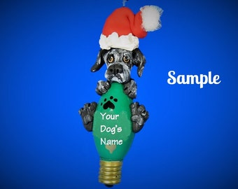 Black Reverse Brindle Great Dane Santa dog natural ears Christmas Light Bulb Ornament Sally's Bits of Clay PERSONALIZED FREE with dog's name