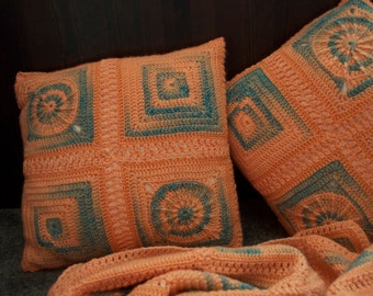 Blanket + 2 cushions set (Peach and Turquoise )