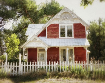 Farmhouse Decor, Rustic Photography, Cottage Chic Wall Art Print, Red Farmhouse Photograph, White Picket Fence | 'Home Sweet Home'