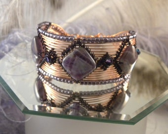 Amethyst and Bright Copper Wire Woven Cuff