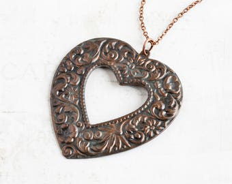 Rustic Heart Necklace, Large Floral Heart Pendant on Antiqued Copper Plated Chain, Oxidized Patina, Valentine's Day Jewelry