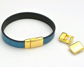 10MM Magnetic Clasp (updated look) - Nickel Free Gold - for use with Flat Leather Cord up to 10Mm (Qty.1)