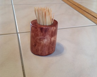 Rustic hand made wooden toothpick holder