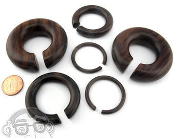 Sono Wood Hoop Plugs Sizes / Gauges (8G - 1 Inch) - New!