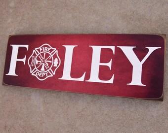 Firefighter Name Sign, Family Name, Firefighter Decor, Fireman Decor,  Firefight Sign,