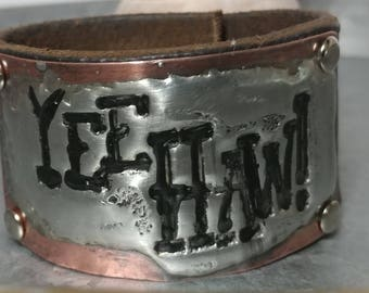 Yee Haw Copper Leather Cuff