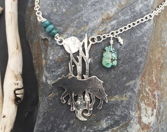 Wolf Necklace, sterling silver with Turquoise.'Ethan'