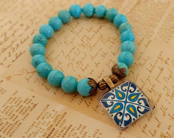 Stretch Tile Charm Bracelet, Turquoise Magnesite Gemstones, Spanish, Mexican, Catalina Mediterranean Tile Antiqued Brass Accents