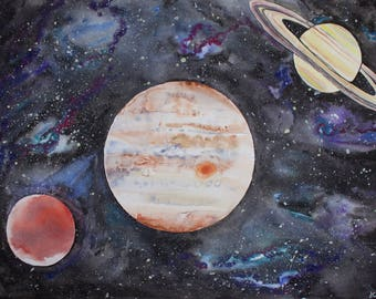 Original Watercolor Painting, Galaxy and Planets, Astronomy, Mars Jupiter and Saturn 18x24 painting with 20x26 Pure White Matte