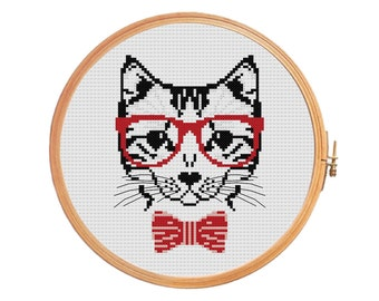 Hipster Cat - cross stitch pattern - animals funny - gifts for him - counted cross stitch patterns - needlepoint - Instant download