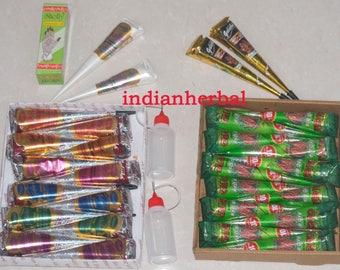12 Pack Dark Brown + 12 pack Assoorted Color + 2 White+2 Black+2Applicator+1 Henna oil