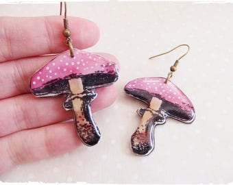 Earrings pink mushrooms Amanitas resin polymer clay. polymer clay resin mushroom earring