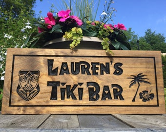 Personalized Man Cave Signs Etsy : Custom tiki bar sign etsy