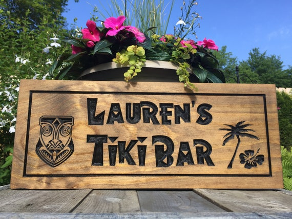 Man Cave Tiki Bar : Personalized wood carved bar sign tiki with palm tree and
