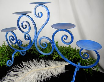 SALE Candelabra Tropical Wedding Decor Blue - Metal Pillar Candle Holder - 5 arm Blue - Nautical Home - Coastal Home Accent - One of a Kind