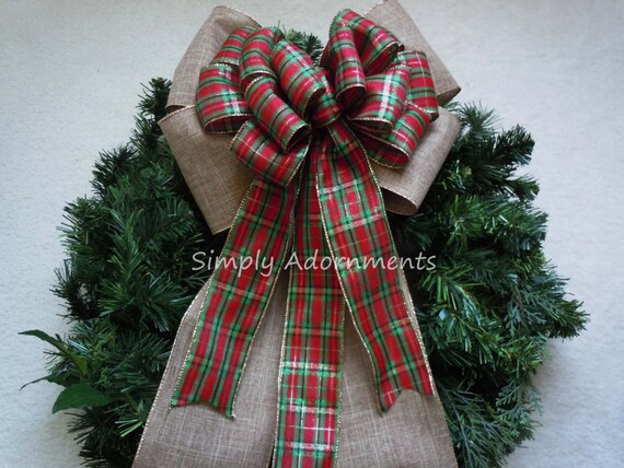 Country Christmas Tree Topper Bow Red Green Plaid Bow Burlap Christmas Plaid Bow Wreath Bow Rustic Burlap Red Green Burlap Christmas Bow