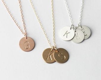 Custom Initial Necklace, Personalized Necklace, Silver, Rose or Gold Letter Necklace, 1, 2 or 3 Initial Charm Necklace, Personalized jewelry
