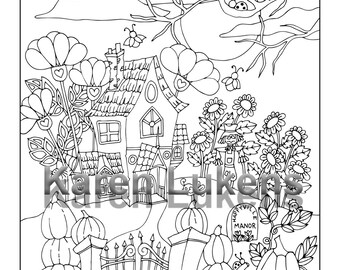 Halloween - Happyville Manor 2, 1 Adult Coloring Book Pages, Printable Instant Download, Fall, Autumn