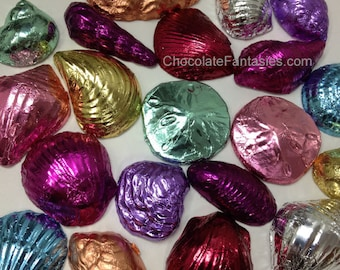 Foil Wrapped Chocolate Seashells, 1 lb Any Chocolate Flavor, Any Foil Color