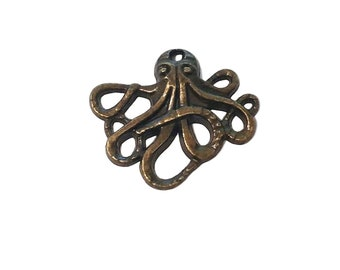 4 Octopus Charms | Bronze Octopus | Steampunk Octopus | Kraken Charm | Cthulhu Charm | Ready to Ship USA | BR041-4
