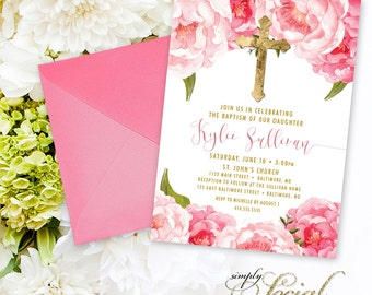 Baptism Invitation - First Holy Communion Invitation - Pink Peony Ranunculus and Faux Gold Foil Watercolor Floral Boho Printable