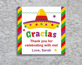 Personalized Fiesta Party Favor Tags or Stickers – DIY Printable (Digital File)