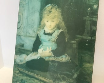 Lovely Girl with Cat and Doll Print