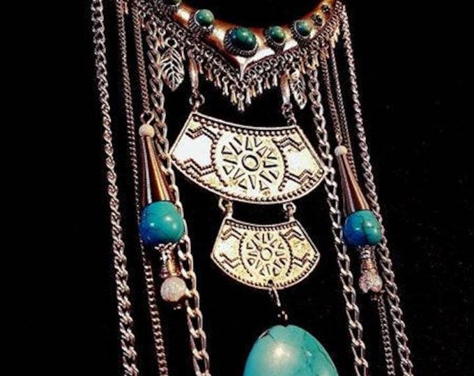 Turquoise Neckpiece - spiritual gemstone necklace boho goth gothic