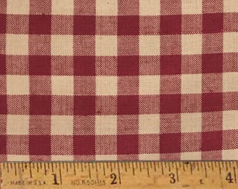"Rustic Red 5 Homespun Cotton Fabric (Full Yard 36"" x 44"")"