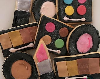 Makeup themed cookies, makeup cookies; galletas de maquillaje; makeup birthday cookies (12qty)