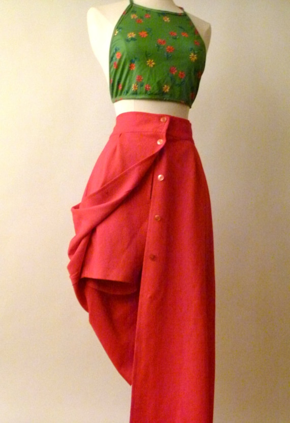 70s Yacht Club In Crimson - High waisted Long skort- Long Skirt with Short Shorts