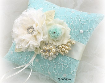 Ring Bearer Pillow, Mint, Aqua, Blue, Robins Egg, Ivory, Elegant Wedding, Vintage Style, Lace Ring Pillow, Brooch, Pearls, Crystals, Square