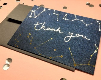 Gold Foil Metallic Thank You Cards, Galaxy Wedding Gratitude Cards, Cosmic Gold Appreciation Notes,  Navy Wedding Thank You Notes, Star Card