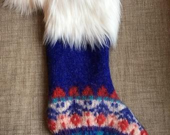 JoMittys- Handmade Wool Christmas Stocking