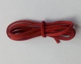 2 cords 1 m dark red suede