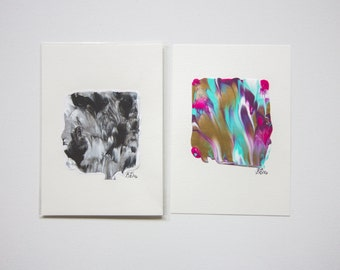 """Mini Abstract Painting Prints 3"""" by 3"""" Acrylic on Paper by Breanna Deis"""
