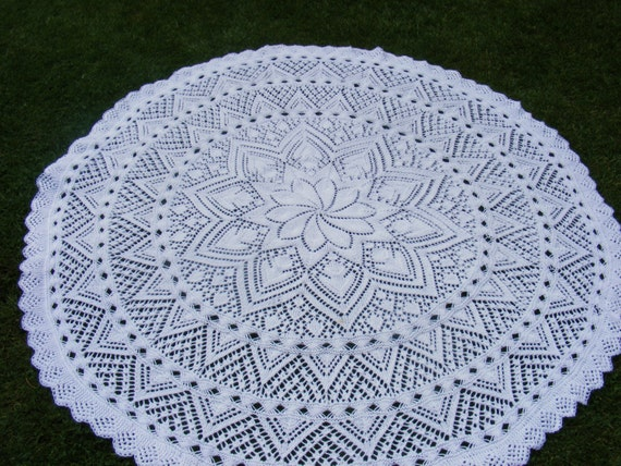 Lily Circular Baby Shawl Knitting Pattern In Dk Instant
