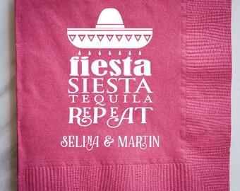Personalized Fiesta Printed Napkins, Custom Fiesta Party Napkins, Personalized Printed Party Napkins, Custom Beverage Napkins