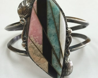 Native American Silver Bracelet Mosaic Inlaid Semi-Precious Stones Free US Shipping!!!