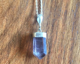 Tiny Amethyst & Sterling Silver Rough Cut Pendant - Vintage from Nepal