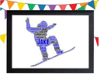 Personalized Gift Snowboarding Gift For Snowboarder Gift Ski Gift Wall Art Wall Prints Wall Art Wall Decor Personalised Gift Wall Art Prints