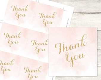 pink gold watercolor favor tags printable DIY wedding bridal shower favour pink gold glitter watercolour thank you cards - INSTANT DOWNLOAD