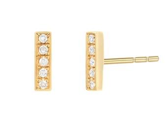 14k gold diamond bar earring studs