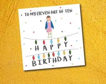 stranger things eleven - birthday card with envelope